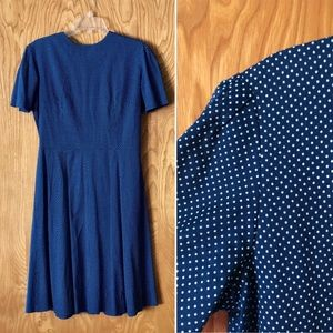 Vintage dress, navy with white Swiss dots